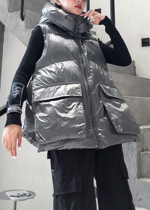 Luxury casual Jackets & Coats sleeveless winter coats silver thick winter women parka