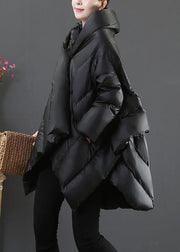 Luxury casual snow jackets coats black hooded asymmetric down jacket woman