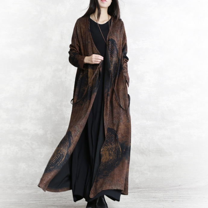 Luxury chocolate print Winter coat plus size V neck asymmetrical design Coats women long sleeve two ways to wear Coats