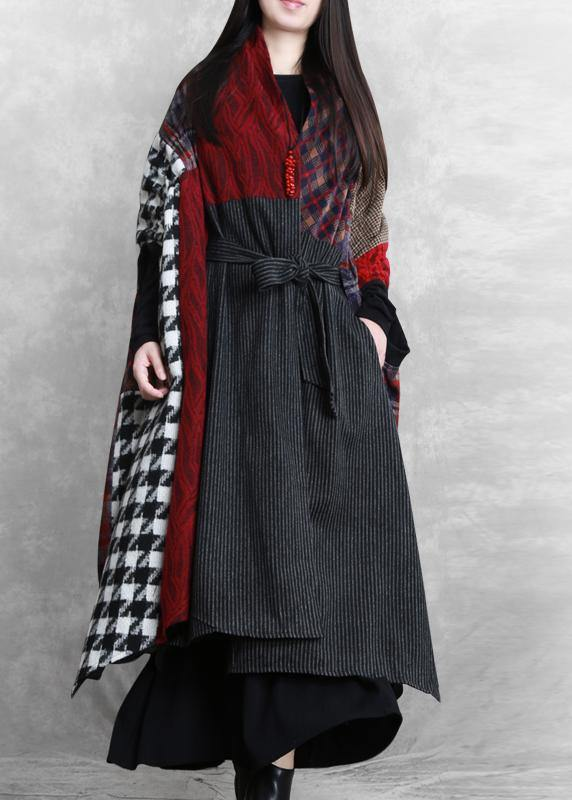 Luxury floral Woolen Coat Women Loose fitting v neck patchwork tie waist maxi coat