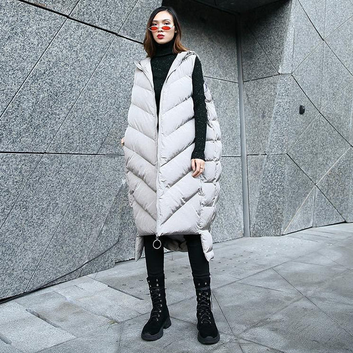 Luxury gray down jacket casual hooded zippered quilted coat women Sleeveless outwear