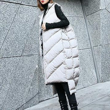 Load image into Gallery viewer, Luxury gray down jacket casual hooded zippered quilted coat women Sleeveless outwear