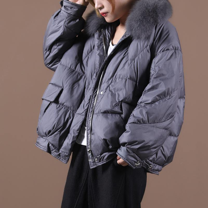 Luxury gray down jacket woman Loose fitting winter fur collar zippered hooded New Jackets