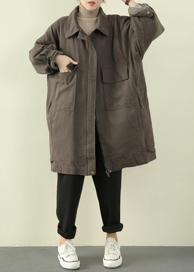 Luxury gray green casual outfit trendy plus size winter jacket lapel zippered overcoat