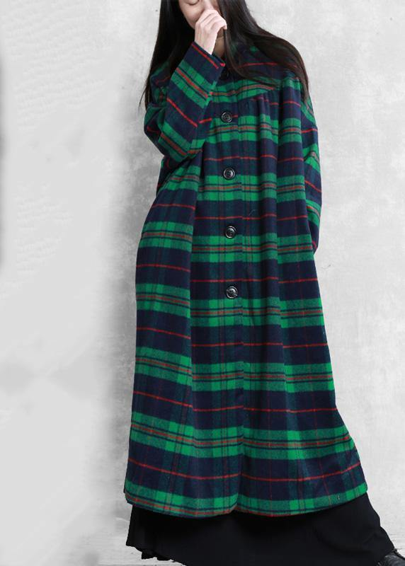 Luxury green plaid wool coat for woman casual Coats women Notched pockets coats