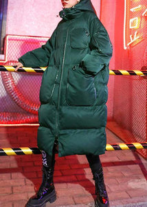 Luxury green winter parkas Loose fitting snow jackets winter hooded zippered coats