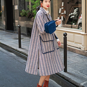 Luxury navy striped maxi coat casual pockets side open Coats boutique Notched maxi coat