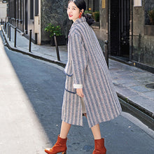Load image into Gallery viewer, Luxury navy striped maxi coat casual pockets side open Coats boutique Notched maxi coat