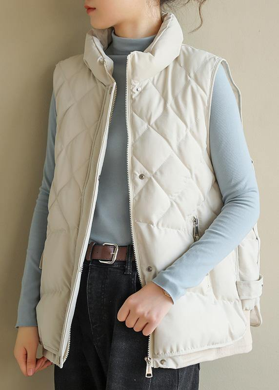 Luxury oversize Jackets & Coats half high neck coats beige sleeveless winter coats