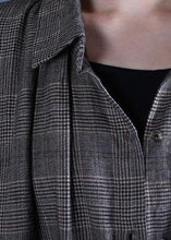 Load image into Gallery viewer, Luxury oversized long winter coat fall gray plaid drawstring coat