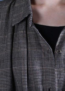 Luxury oversized long winter coat fall gray plaid drawstring coat