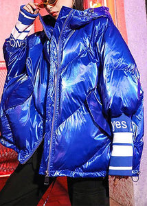 Luxury oversized winter jacket overcoat blue print hooded zippered winter parkas