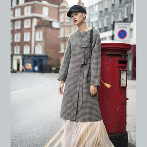 Luxury plaid Wool jackets oversized o neck long coat tie waist outwear