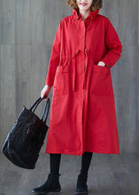 Load image into Gallery viewer, Luxury plus size clothing long jackets fall Ruffled drawstring zippered coat