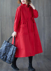 Luxury plus size clothing long jackets fall Ruffled drawstring zippered coat