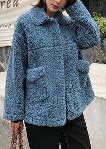 Luxury plus size coats winter woolen outwear blue lapel collar wool coat for woman