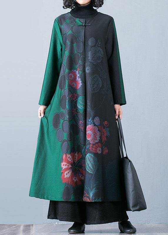 Luxury plus size maxi coat fall trench coats green prints o neck overcoat