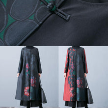 Load image into Gallery viewer, Luxury plus size maxi coat fall trench coats green prints o neck overcoat