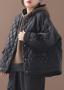 Luxury plus size warm winter over short coat black o neck women outwear