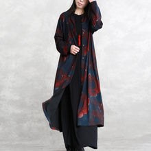 Load image into Gallery viewer, Luxury print cotton blended Coat oversize pockets outwear Fashion long sleeve baggy trench coat