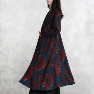 Luxury print cotton blended Coat oversize pockets outwear Fashion long sleeve baggy trench coat