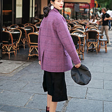 Load image into Gallery viewer, Luxury purple Plaid coats casual Notched Wool Coat New pockets back side open coat