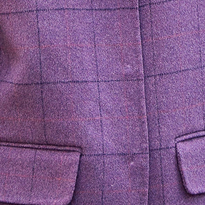 Luxury purple Plaid coats casual Notched Wool Coat New pockets back side open coat