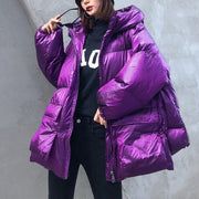 Luxury purple down jacket woman plus size clothing winter jacket hooded zippered Elegant coats