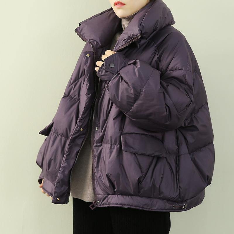 Luxury purple warm winter coat plus size snow stand collar zippered Fine outwear