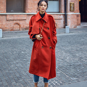 Luxury red Winter coat plus size Notched tunic Coat top quality pockets tie waist coats