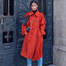 Load image into Gallery viewer, Luxury red Winter coat plus size Notched tunic Coat top quality pockets tie waist coats