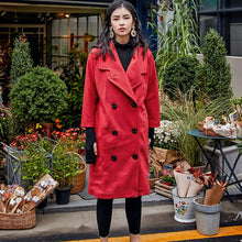 Load image into Gallery viewer, Luxury red Wool Coat casual Notched maxi coat women double breasted wool jackets