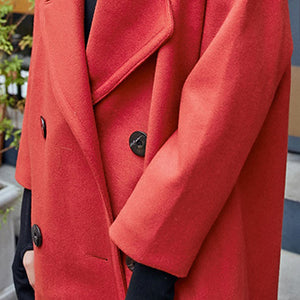 Luxury red Wool Coat casual Notched maxi coat women double breasted wool jackets