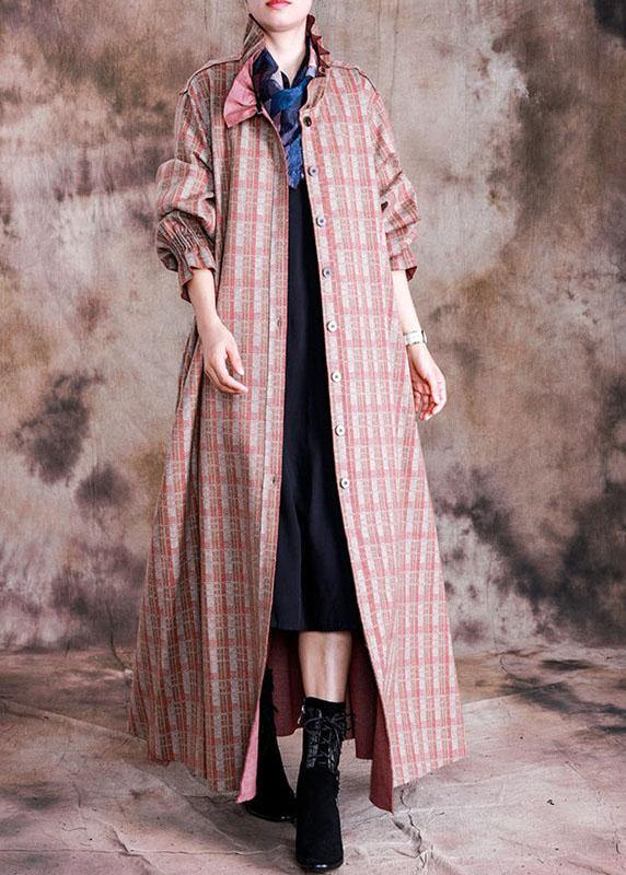 Luxury red plaid woolen coats trendy plus size trench coat fall wrinkled coat