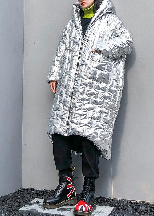 Luxury silver Parkas for women Loose fitting hooded zippered coats