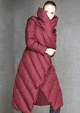 Load image into Gallery viewer, Luxury trendy plus size down jacket hooded coats burgundy dark buckle down jacket woman