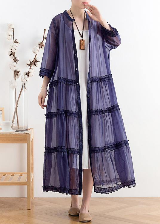 Mid-length sunscreen 2020 new thin Korean blue and purple fairy coat