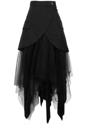 Modern Black Patchwork tulle Summer High Waist Skirt