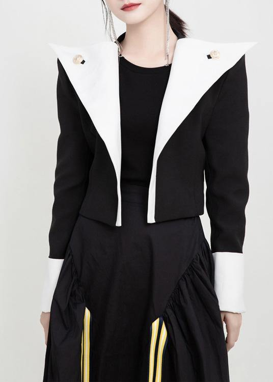 Modern Button decorated top quality fall clothes black white patchwork color cotton jackets