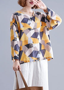 Modern Geometric cotton box top v neck drawstring baggy top