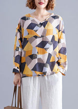 Load image into Gallery viewer, Modern Geometric cotton box top v neck drawstring baggy top