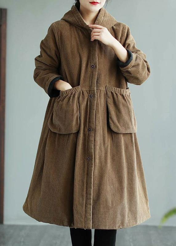 Modern Hooded Pockets Fashion Maxi Coat Khaki Daily Outwear