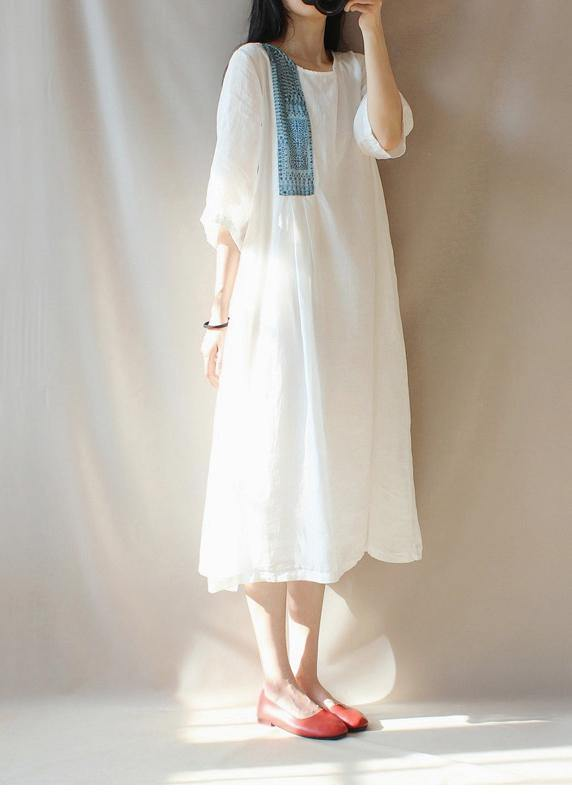 Modern O Neck Patchwork Clothes Photography White Loose Dresses
