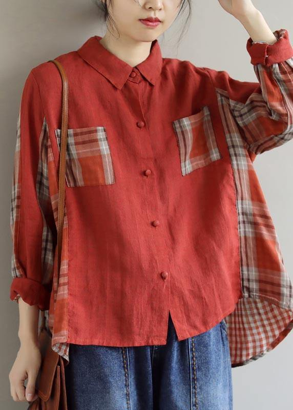 Modern Red Plaid Clothes For Women Lapel Patchwork Spring Top