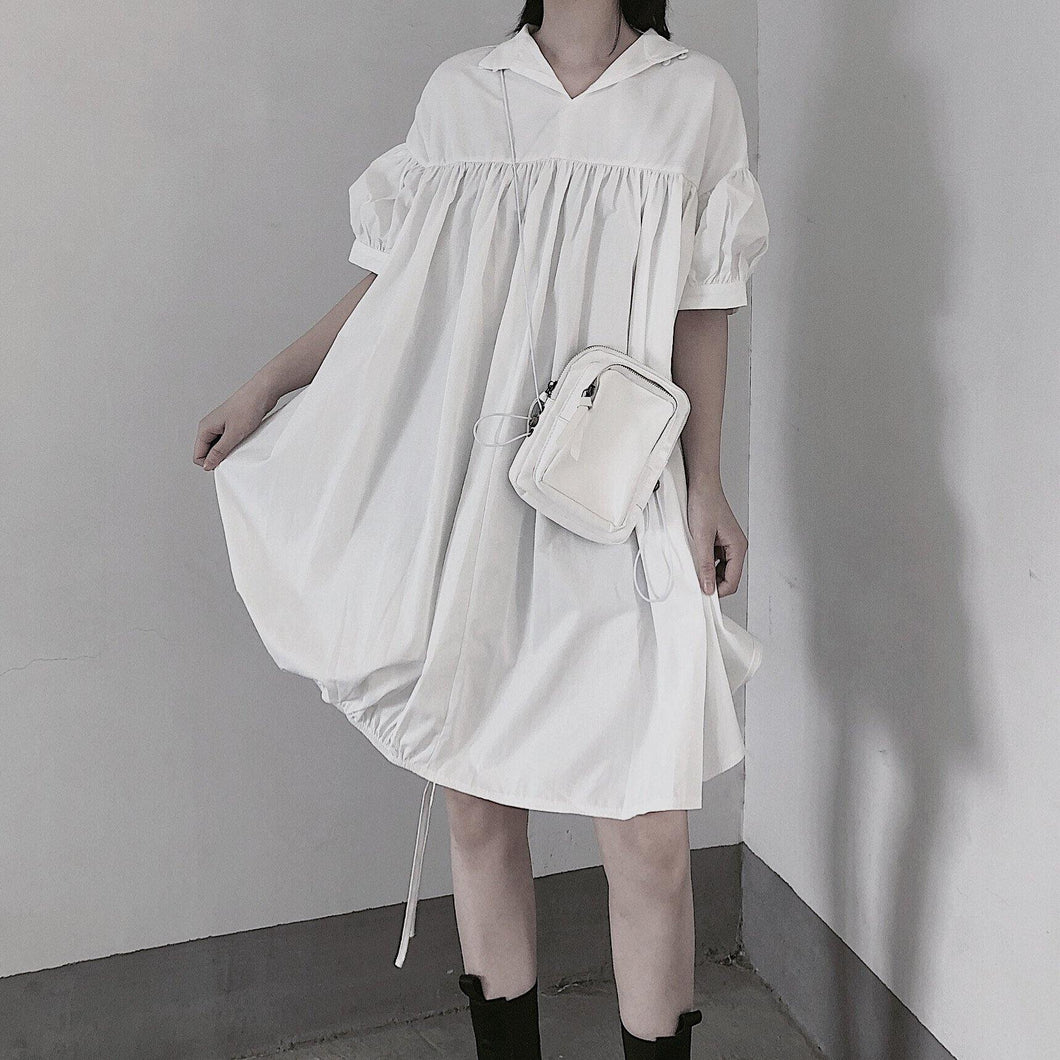 Modern White Dresses O Neck Drawstring loose Dress