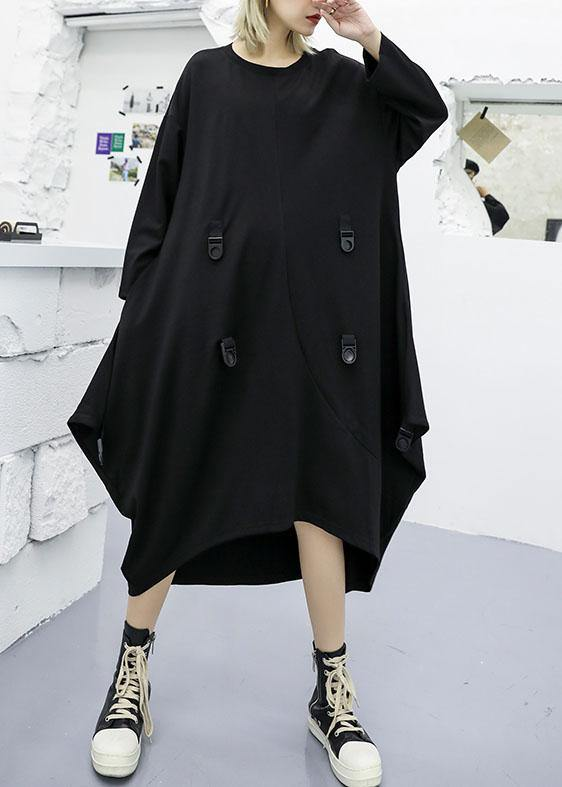 Modern asymmetric cotton clothes Women Fashion Ideas black long sleeve Maxi Dresses fall