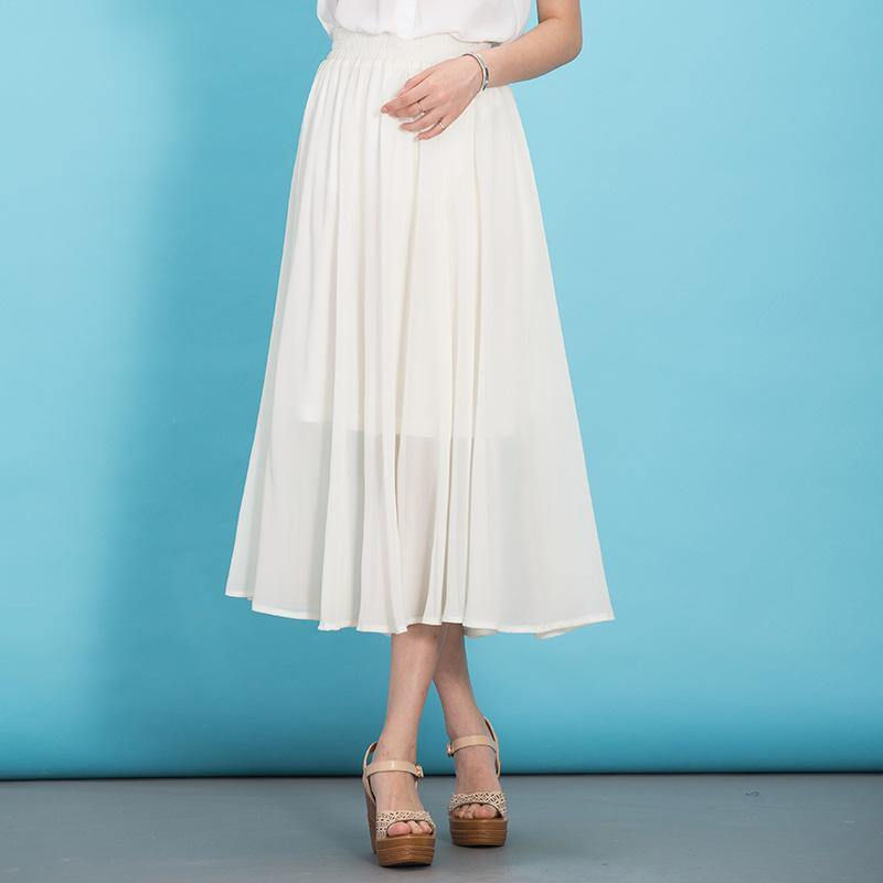 Modern big hem chiffon dresses Fabrics white Dress summer