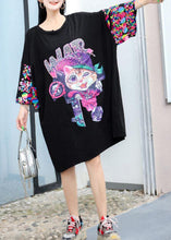 Load image into Gallery viewer, Modern black Cartoon print Cotton dress Appliques sleeve cotton summer Dresses