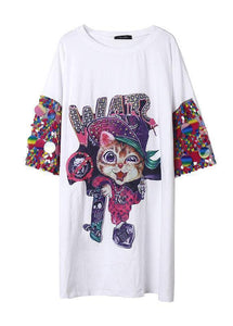 Modern black Cartoon print Cotton dress Appliques sleeve cotton summer Dresses