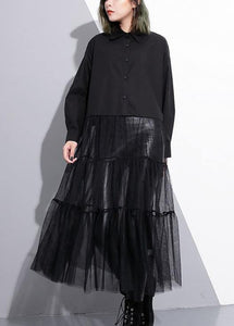 Modern black Cotton patchwork tulle top quality Runway lapel false two pieces cotton Summer Dresses